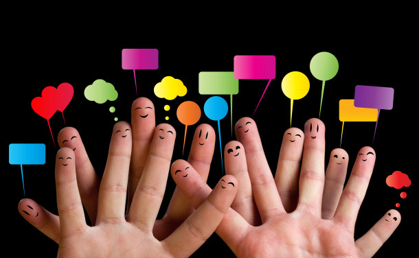 Happy group of finger smileys 2