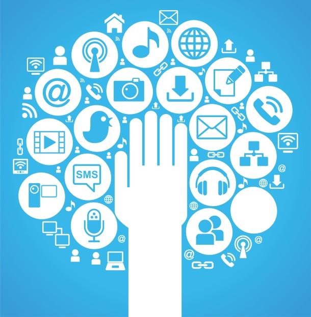 social media tree blue