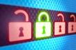 Lock security concept on digital screen